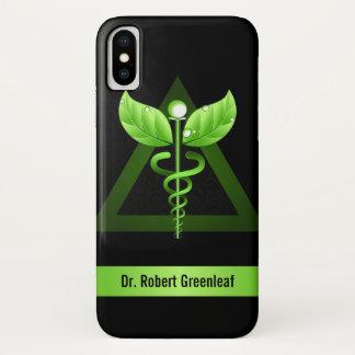 緑のケリュケイオンの代替医療の医学の記号 iPhone X ケース
