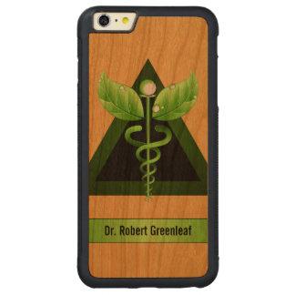 緑のケリュケイオンの代替医療医学木 CarvedチェリーiPhone 6 PLUSバンパーケース