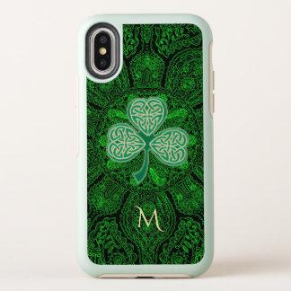 緑のケルト族のクローバーの曼荼羅のオッターボックスのiPhone Xの箱