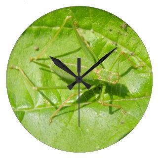 緑のコオロギのカムフラージュの柱時計 ラージ壁時計