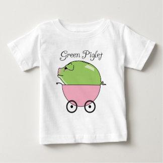 緑のコブタの(ピンクの)幼児Tシャツ ベビーTシャツ