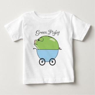 緑のコブタの(青い)幼児Tシャツ ベビーTシャツ