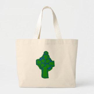 緑のコプトの十字 ラージトートバッグ