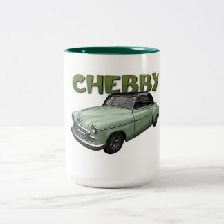 緑のコーヒー・マグの1950年のChevyのクーペ ツートーンマグカップ