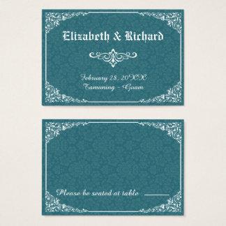 緑のゴシック様式ビクトリアンなダマスク織の結婚式の座席表 名刺