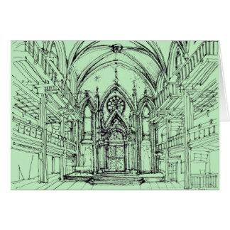 緑のゴシック様式NYCのシナゴーグ カード