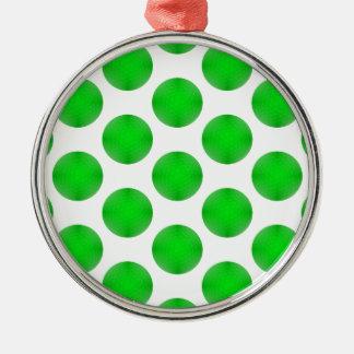 緑のゴルフ・ボールパターン メタルオーナメント