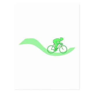 緑のサイクリストのデザイン ポストカード