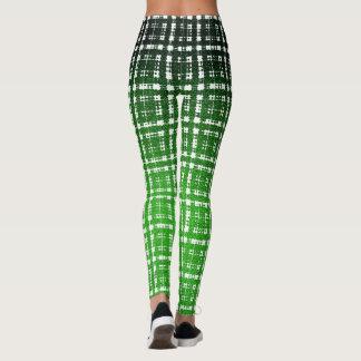 緑のサイバーパンクの格子縞のサイエンスフィクションのファッション レギンス