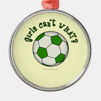 緑のサッカーボール メタルオーナメント