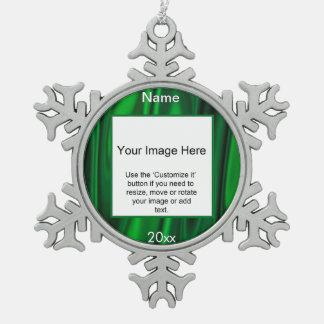 緑のサテンの円の写真フレームのテンプレート ピューター製スノーフレークオーナメント
