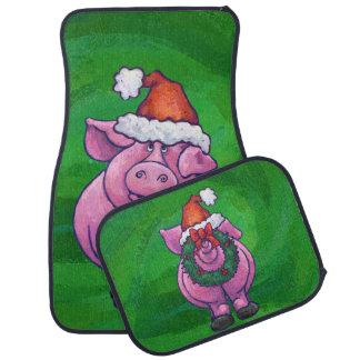 緑のサンタの帽子のお祝いのブタ カーマット
