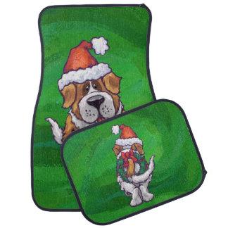 緑のサンタの帽子のかわいいサンベルナール峠 カーマット
