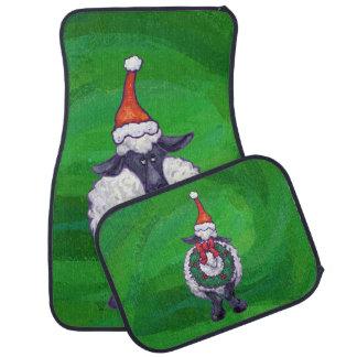 緑のサンタの帽子のかわいいヒツジ カーマット