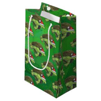 緑のサンタの帽子のカメ スモールペーパーバッグ