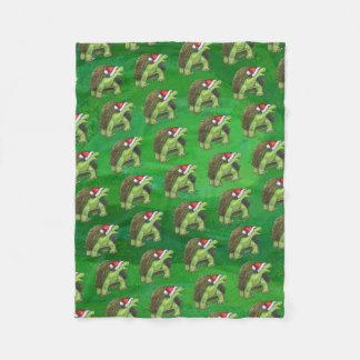 緑のサンタの帽子のカメ フリースブランケット