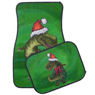 緑のサンタの帽子のTRex カーマット