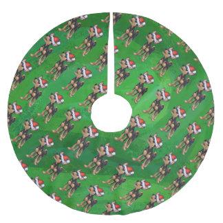 緑のサンタの帽子パターンのチワワ ブラッシュドポリエステルツリースカート