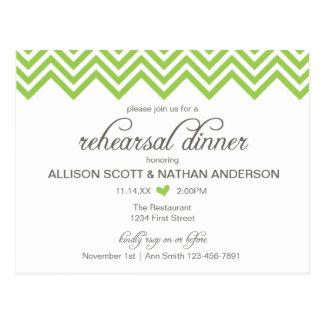 緑のシェブロンのリハーサルの夕食の招待の郵便はがき ポストカード
