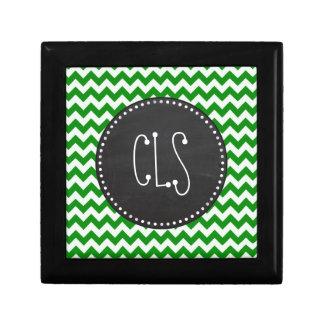 緑のシェブロンは縞で飾ります; ヴィンテージの黒板 ギフトボックス