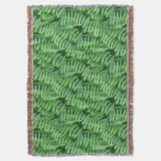 緑のシダの自然の芸術パターン スローブランケット