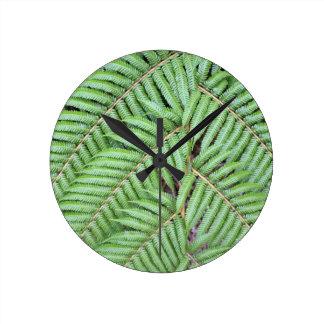 緑のシダニュージーランド ラウンド壁時計