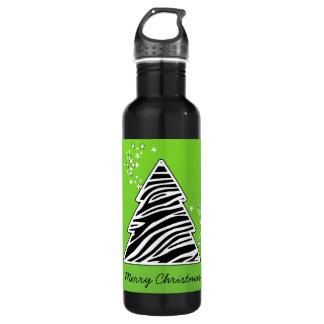 緑のシマウマのクリスマスツリー ウォーターボトル