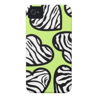 緑のシマウマのハートのブラックベリーのはっきりしたな箱 Case-Mate iPhone 4 ケース