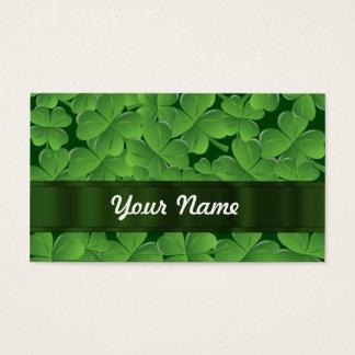 緑のシャムロックパターン 名刺