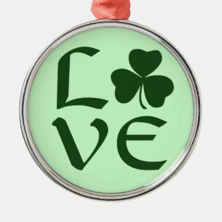 緑のシャムロック愛 メタルオーナメント