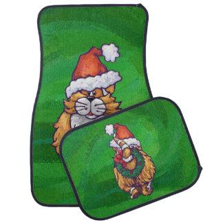 緑のショウガ猫のクリスマス カーマット