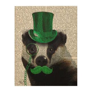 緑のシルクハットおよび口ひげを持つアナグマ ウッドウォールアート