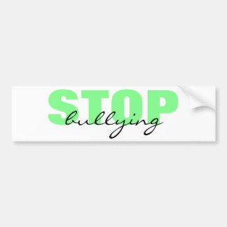 緑のシンプルなバンパーステッカーをいじめることを止めて下さい バンパーステッカー