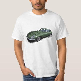 緑のジャガーXKEのスポーツ・カーのTシャツを競争させているイギリス Tシャツ