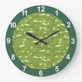 緑のジャングルの鳥 ラージ壁時計