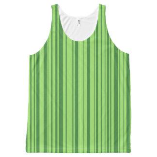 緑のスイカは縞で飾ります オールオーバープリントタンクトップ