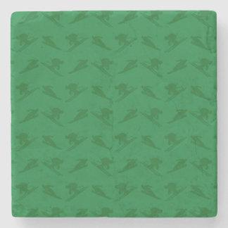 緑のスキーパターン ストーンコースター