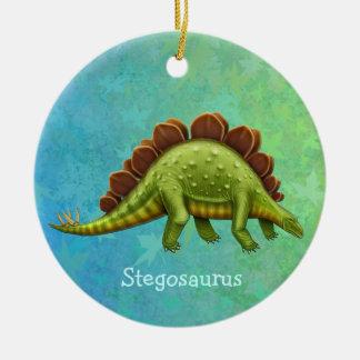 緑のステゴサウルスの恐竜のオーナメント セラミックオーナメント