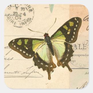 緑のステッカーの素朴なヴィンテージの蝶 スクエアシール