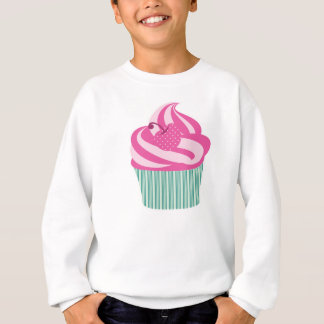 緑のストライプが付いているピンクのさくらんぼのカップケーキ スウェットシャツ