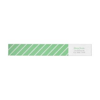 緑のストライプのなラップアラウンドの宛名ラベル ラップアラウンドラベル