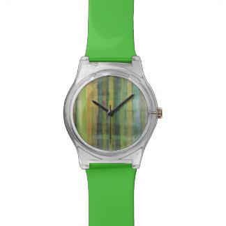 緑のストライプのな芸術パターン 腕時計