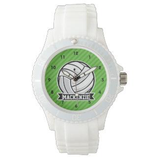 緑のストライプのバレーボール 腕時計