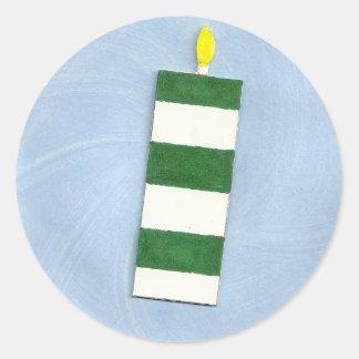 緑のストライプの蝋燭のステッカー ラウンドシール
