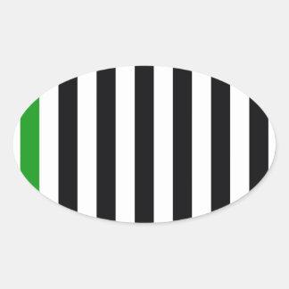 緑のストライプを使って 楕円形シール
