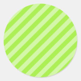 緑のストライプパターン ラウンドシール