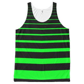 緑のストライプ オールオーバープリントタンクトップ
