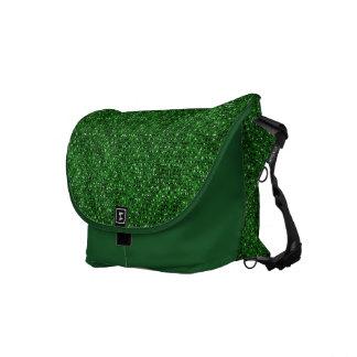 緑のスパンコールの効果の人力車のメッセンジャーバッグ クーリエバッグ