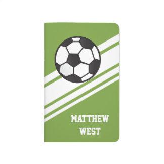 緑のスポーティなストライプの名前入りなサッカージャーナル ポケットジャーナル