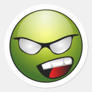 緑のスマイリーフェイスのステッカー ラウンドシール
